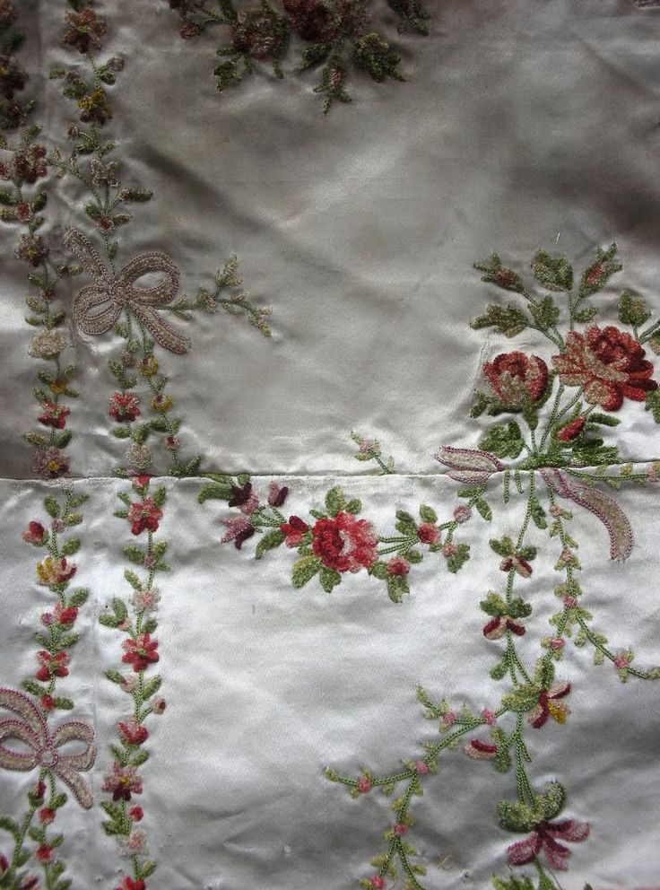 18th Century French Silk Embroidered With Fanciful Swags