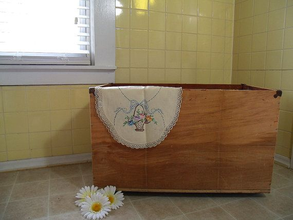 Vintage Very Large Wooden Chest With Feet Mid By DivineOrders, $70.00
