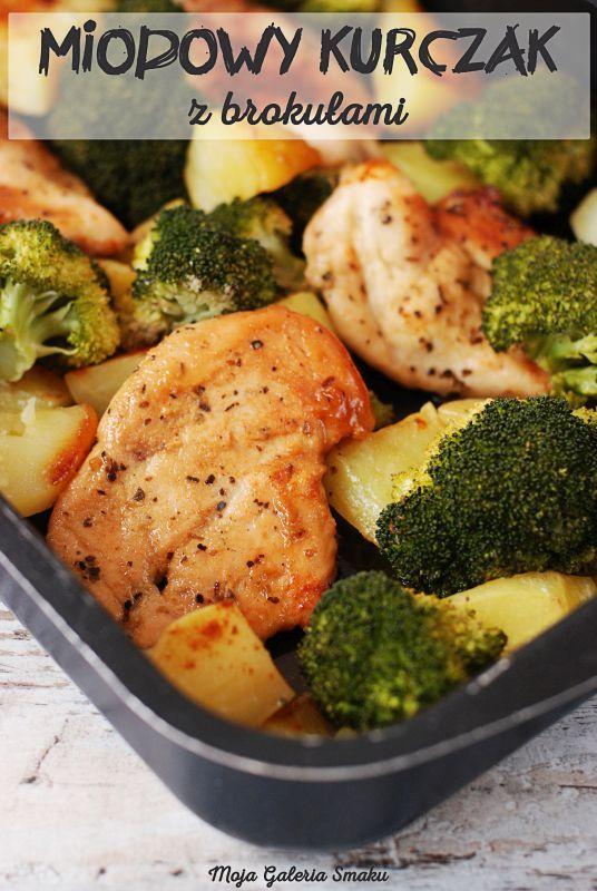 Miodowy kurczak z brokułami