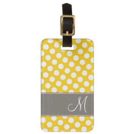 Modern Polka Dot Pattern with Monogram Luggage Tag #polkadot #pattern #accessories