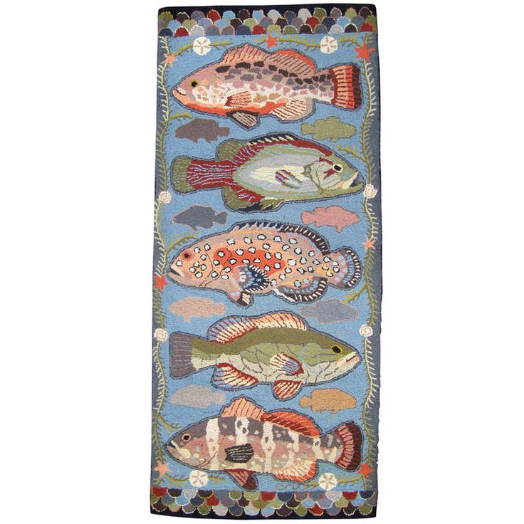 Unusual Hooked Rug with Fish Motif | From a unique collection of antique and modern chinese and east asian rugs at http://www.1stdibs.com/furniture/rugs-carpets/chinese-rugs/