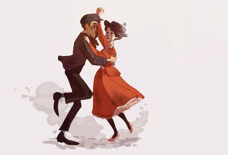 Mary Poppins & BertFavourite Artists, Mary Poppins, Bert Dance, Disneymari Poppins, Disney Princesses, Disney Couples, Lights Heart, Marypoppins, Disney Art