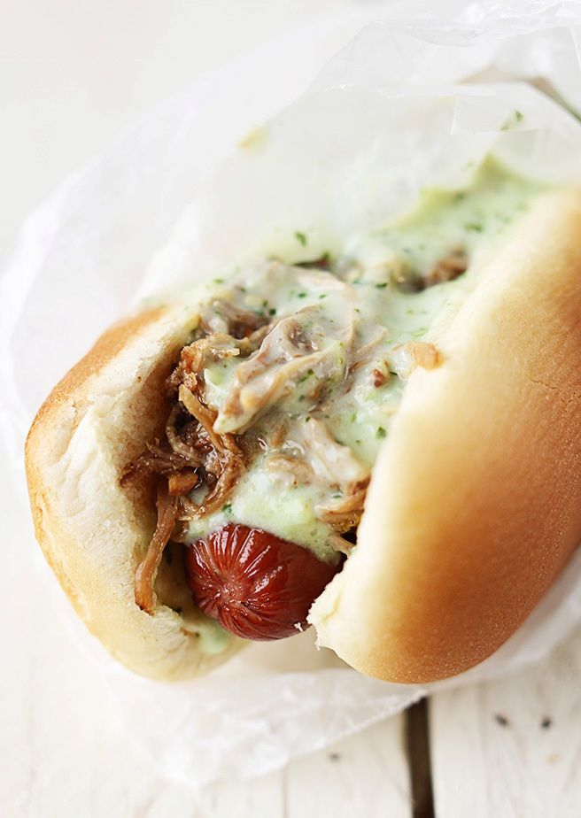 Sweet Pork and Tomatillo Ranch Hot Dogs ---- #bread #meat
