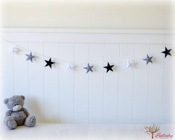 Star garland - felt star banner -  Black, grey and white - Nautical - Nursery decor - MADE TO ORDER