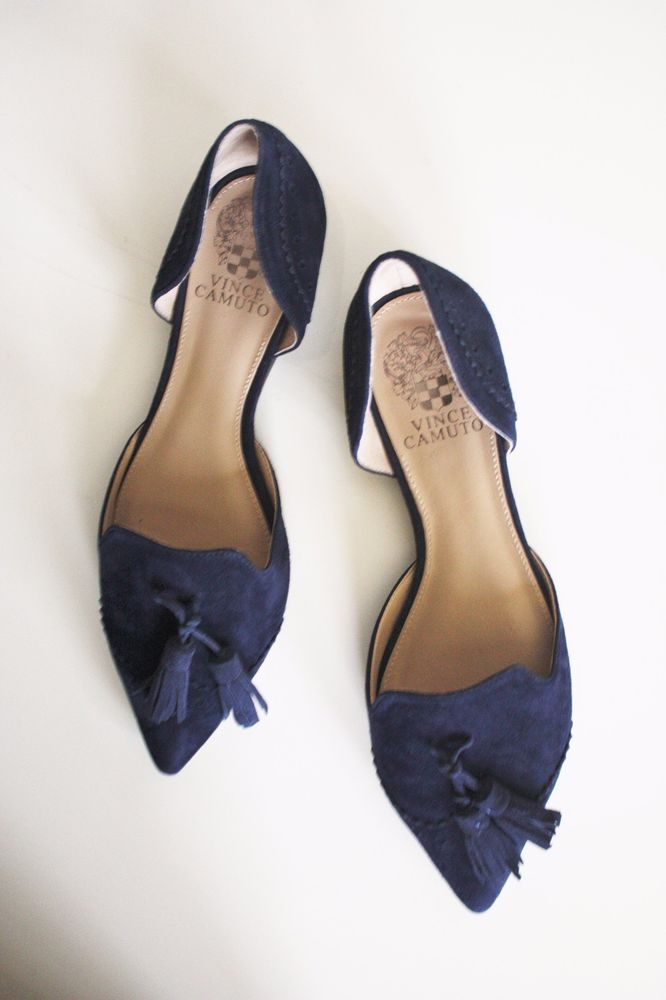 Vince Camuto D Orsay Flats Halley 7 5 Blue Suede Shoes