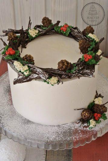 «Рождественский венок»: торт и капкейки. Мастер-класс по кремовым цветам | Лаборатория Мастер Торт