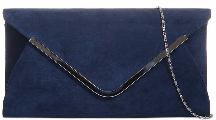 A dark blue faux suede clutch bag shoulder bag with Silver tone metal edge trim to the front The bag fastens with a flap over the top and a concealed