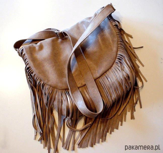 torby na ramię - damskie-Frędzlove boho skóra