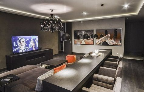 bar table behind sofa in living media room basement in 2019 rh pinterest com