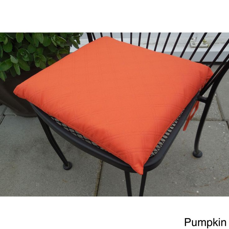 Edie Sonic Double Diamond Indoor/ Outdoor Chair Pad (Pack of 2) (Pumpkin), Orange (Polyester, Solid)