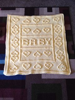 Crazy hearts baby blanket. This pattern comes with baby boy, baby girl and baby.