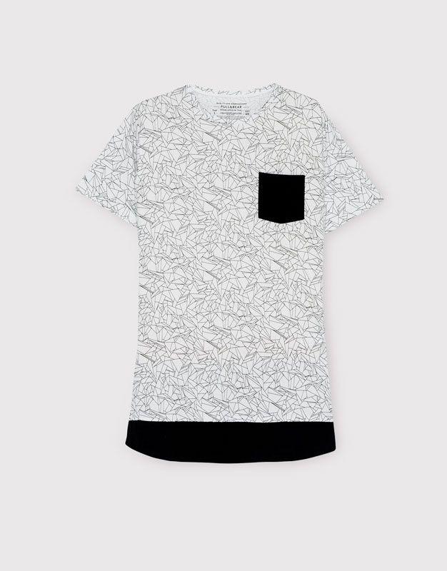 Pull&Bear - hombre - camisetas - camiseta print bolsillo frontal - blanco - 09239558-I2016