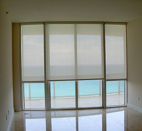 Realistic View Of Sliding Door With 2 Small And 1 Central Large Roller Blind