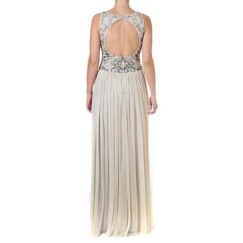 Buy Adrianna Papell Long Beaded Dress, Silver Online at johnlewis.com