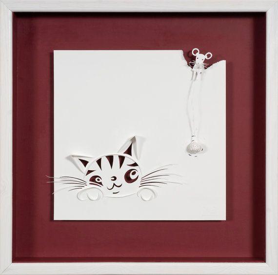 ARROCCATO mouse - carta tagliata e scolpito - riproduzione fotografica su carta di arte