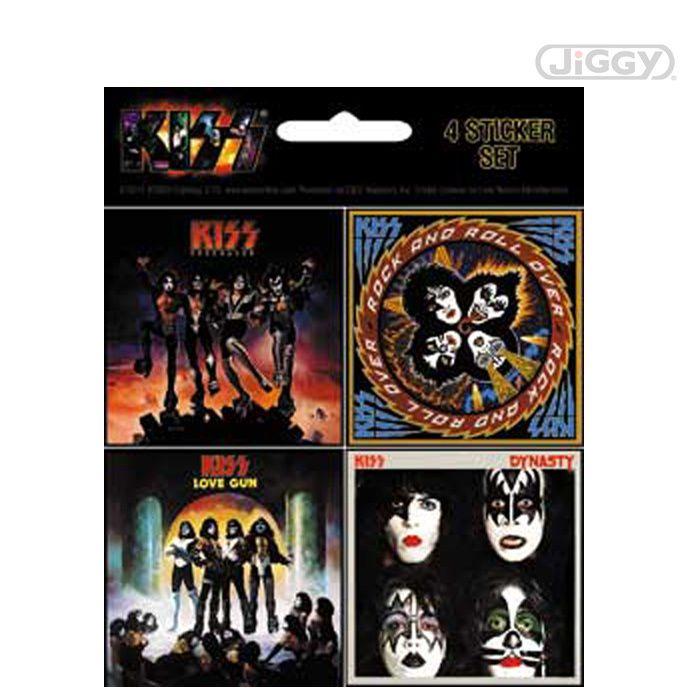 "JiGGy.Com - Kiss - Album Cover Mini Sticker Set Kiss sticker set features 4 minis stickers of classic Kiss Album Covers. Each mini sticker measures approximately 2"" x 2""."