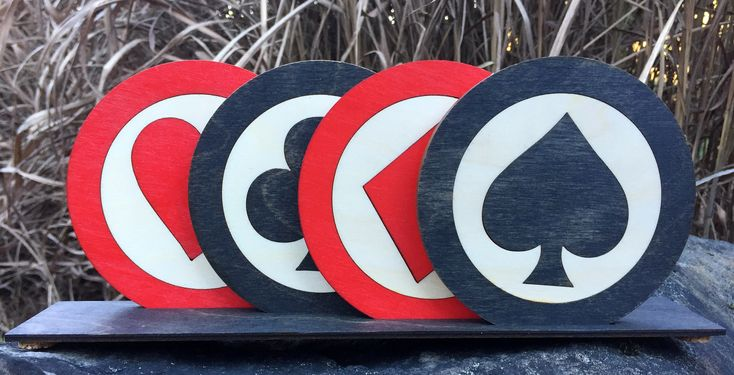 Suited Card / Heart Spade Club Diamond /  Inlaid Wood Coasters Set of 4 in Stand / Precision Laser Cut Wood / Drink Coasters