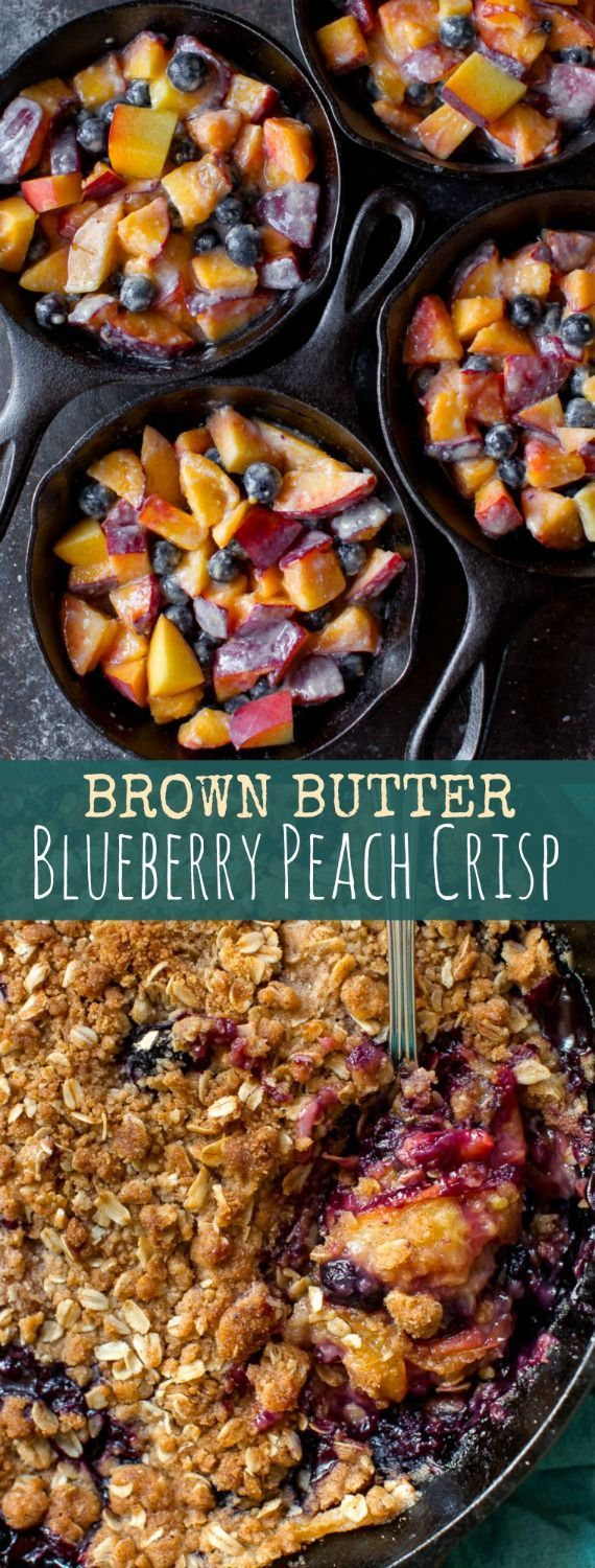 Take your fruit crisp to the next level by making a brown butter streusel and mixing up the fruits! Brown butter blueberry peach crisp recipe.