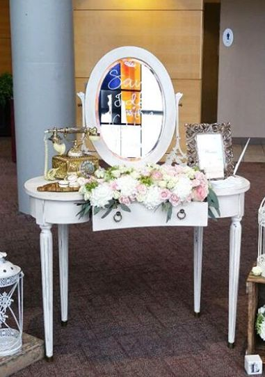 3/4 Vanity is available with or without mirror. www.southerncharmvintagerentals.com
