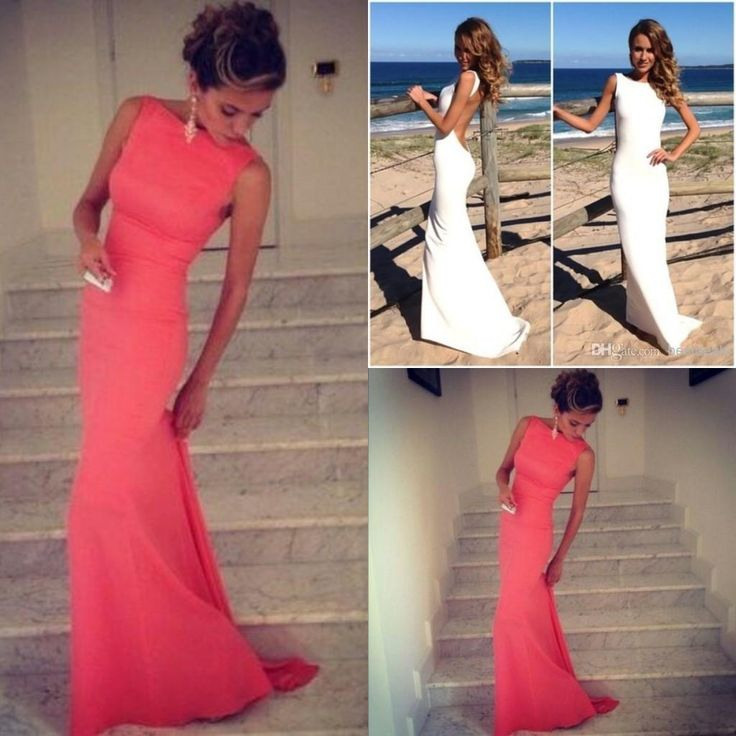 Wholesale Coral Prom Dresses 2014 Vintage High Neck Backless Evening Dresses 2015 Long Wedding Party Dress Fitted Beach Maxi Prom Dress