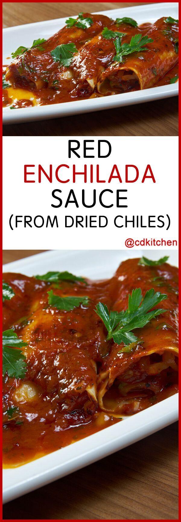 Red Enchilada Sauce From Dried Chiles - Recipe is made with garlic powder, cumin, dried oregano, salt, California chiles, water, lard or vegetable oil, garlic, all-purpose flour, vinegar | CDKitchen.com