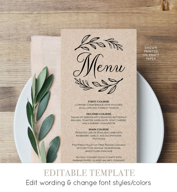 Menu Card Template, Printable Wedding Menu, Dinner Menu, Editable Template, Instant Download, Rustic Wedding, Laurels Wreath #027-117WM