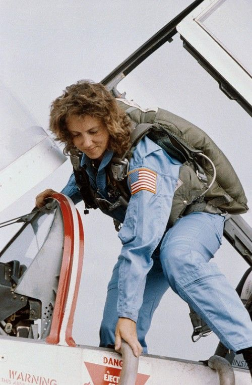 Christa McAuliffe, pictured during T-38 flight training. Photo Credit: NASA