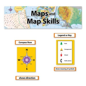 Map and Map Skills Bulletin Board Set for introducing map skills to your elementary students.
