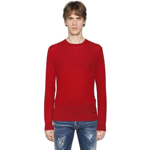 Dsquared2 Men Wool Sweater W/ Logo Detail (3.556.215 IDR) ❤ liked on Polyvore featuring men's fashion, men's clothing, men's sweaters, red, mens wool sweaters, mens sweaters, mens woolen sweaters and mens red sweater