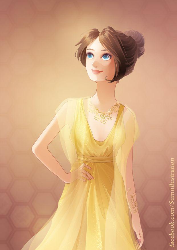 Beautiful Girl, illustration #yellow / Bella ragazza, illustrazione #giallo - Art by Blumina on deviantART