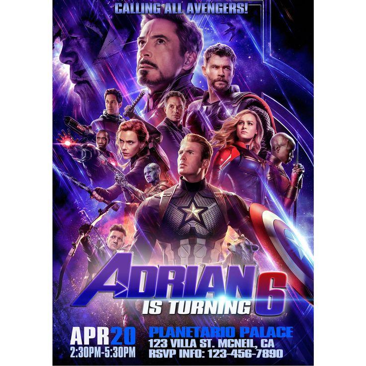 Avengers Endgame Invitation, Avengers Endgame Birthday Invitation, Free Thank You Tag, 12hrs Turnaround Time