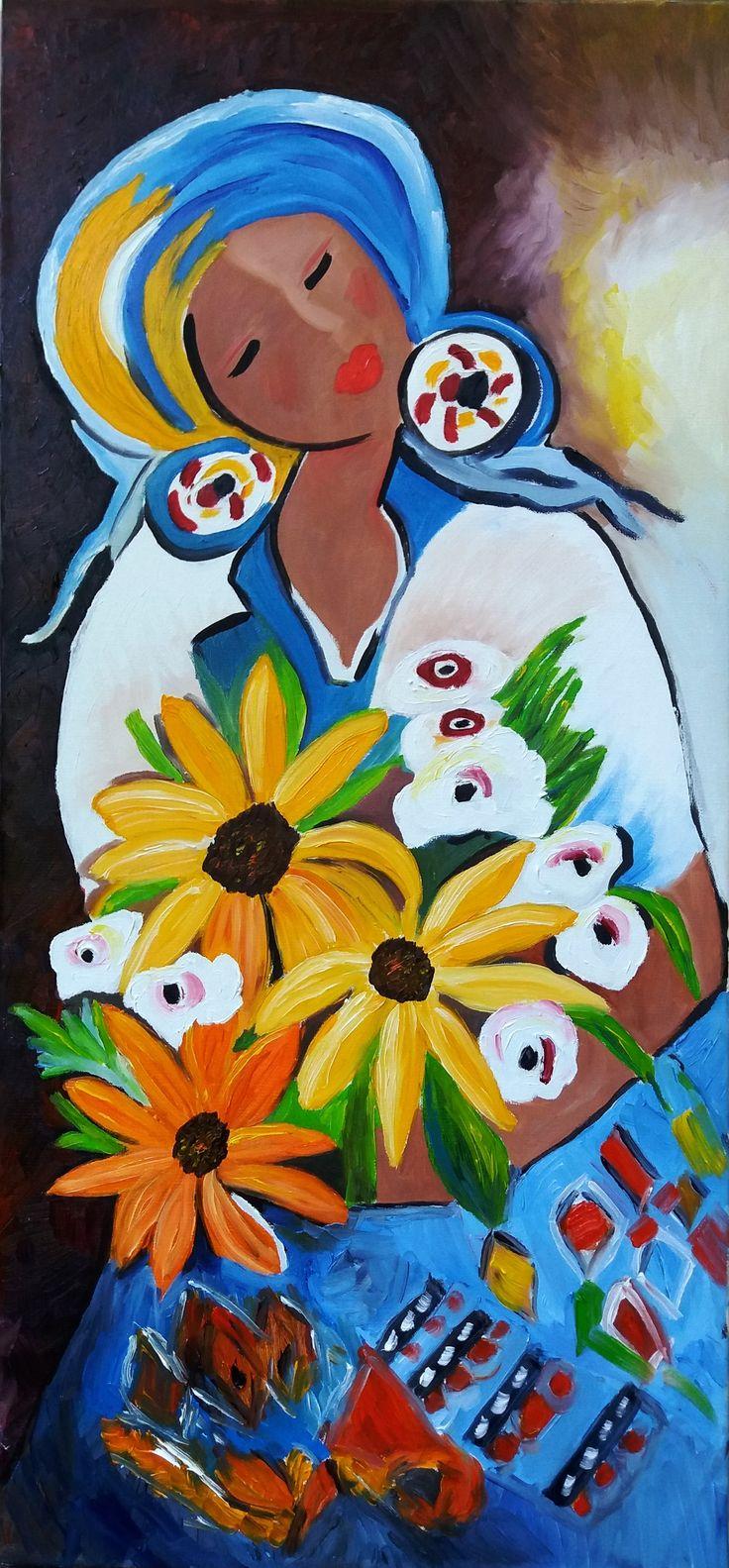 Regina Oyarzún Morena con Flores óleo sobre tela de 35 x 74 cms (Réplica)