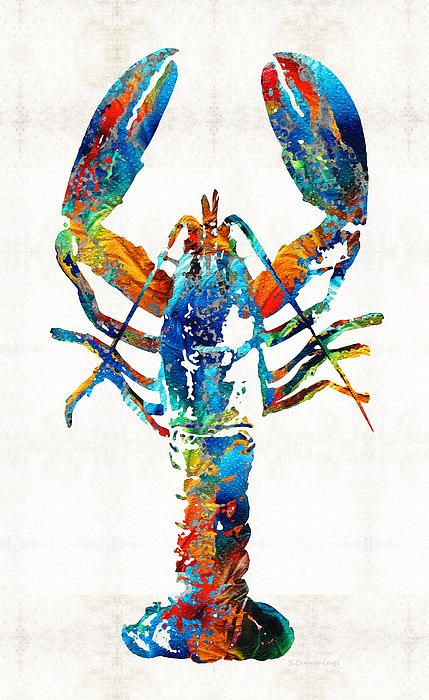 Title ; Colorful Lobster Art By Sharon Cummings Artist ; Sharon Cummings Medium ; Painting - Acrylic On Canvas