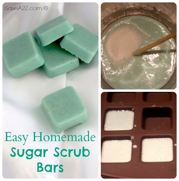 Easy Homemade Sugar Scrub Bars using coconut oil and Melt and Pour soap base www.isavea2z.com