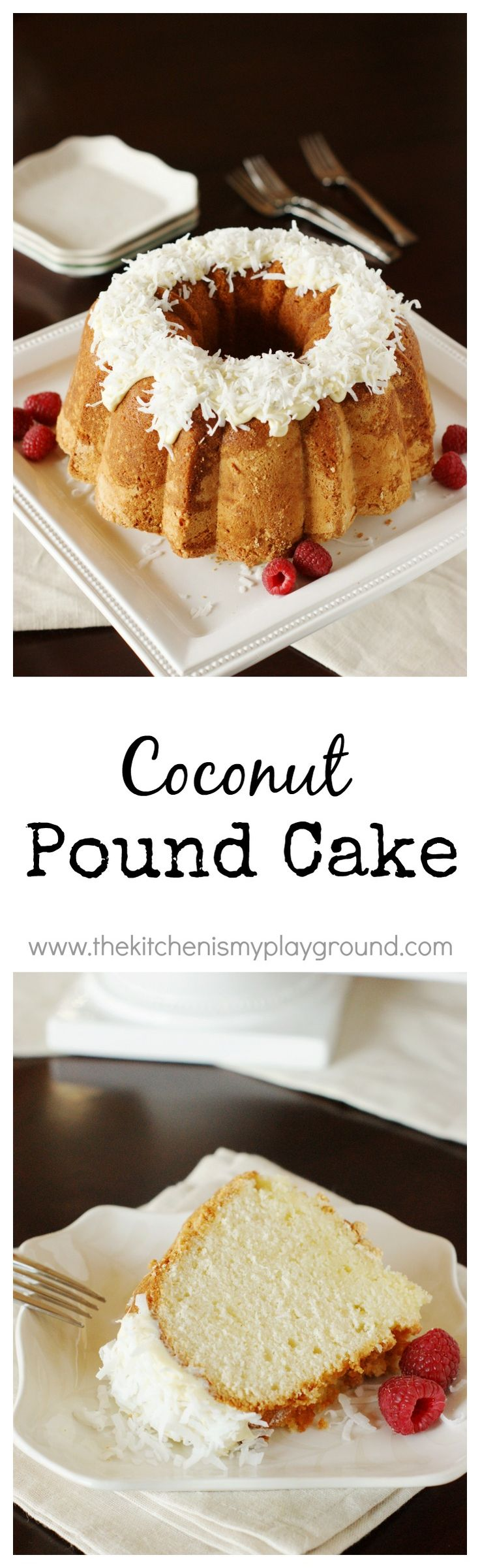 Coconut Pound Cake ~ moist, tender pound cake loaded with fabulous coconut flavor.  www.thekitchenismyplayground.com