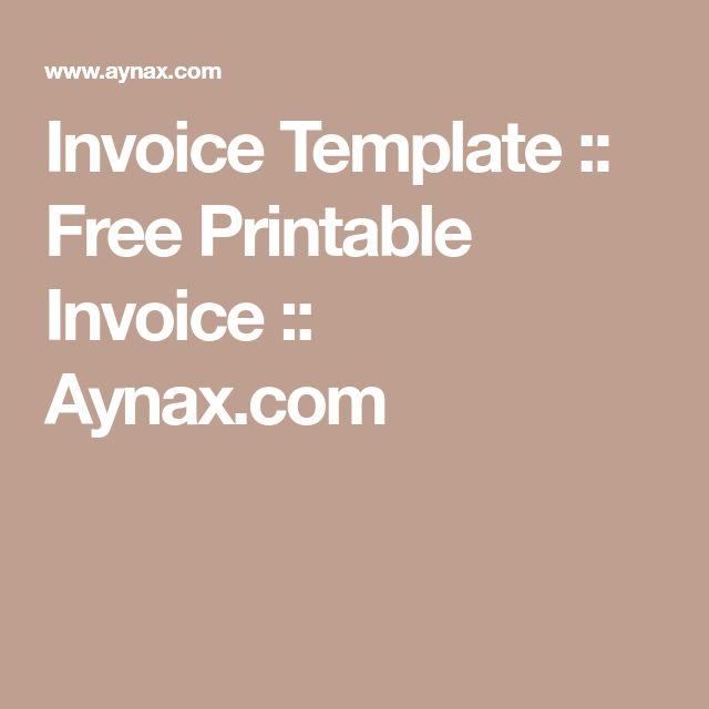 Invoice Template :: Free Printable Invoice :: Aynax.com