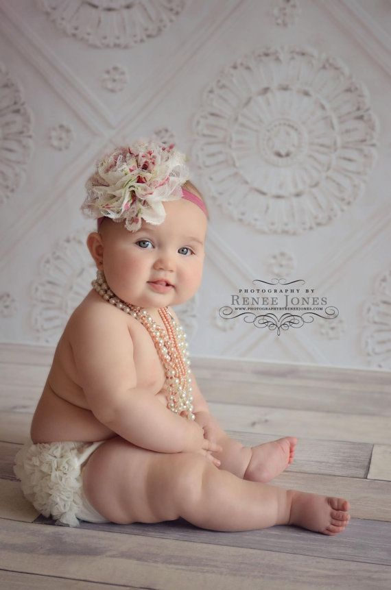 Set- Inspired Lace Vintage Ruffle Bum Baby Bloomer and Inspired Vintage Lace Frayed Flower Pearl Center on Stretch Headband-