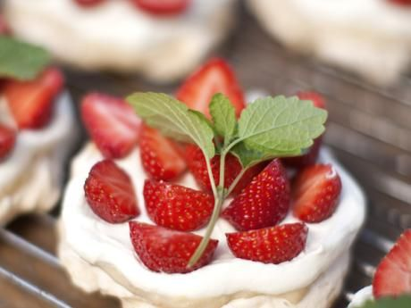 Meringue Pastries with rhubarb butter, strawberries and whipped cream