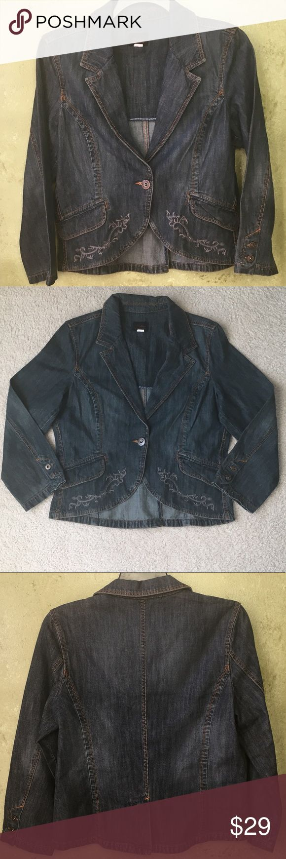 Riders Copper Collection Jean Jacket Riders Copper Collection Jean Jacket in a size Medium. Embroidered one button Lee jacket. Perfect addition to anyone's wardrobe ☺️. Used but in good condition. Riders by Lee Jackets & Coats Jean Jackets