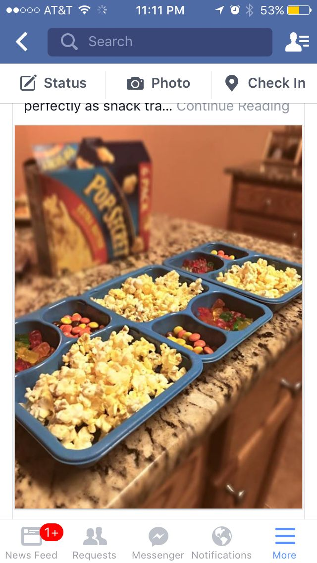 Recycle frozen meal trays abs turn then into snack trays for movie time with the little ones