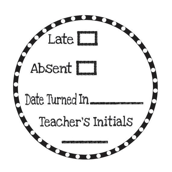 Late Absent Work Teacher Stamp Self Inking Stamp by stampoutonline, $35.00