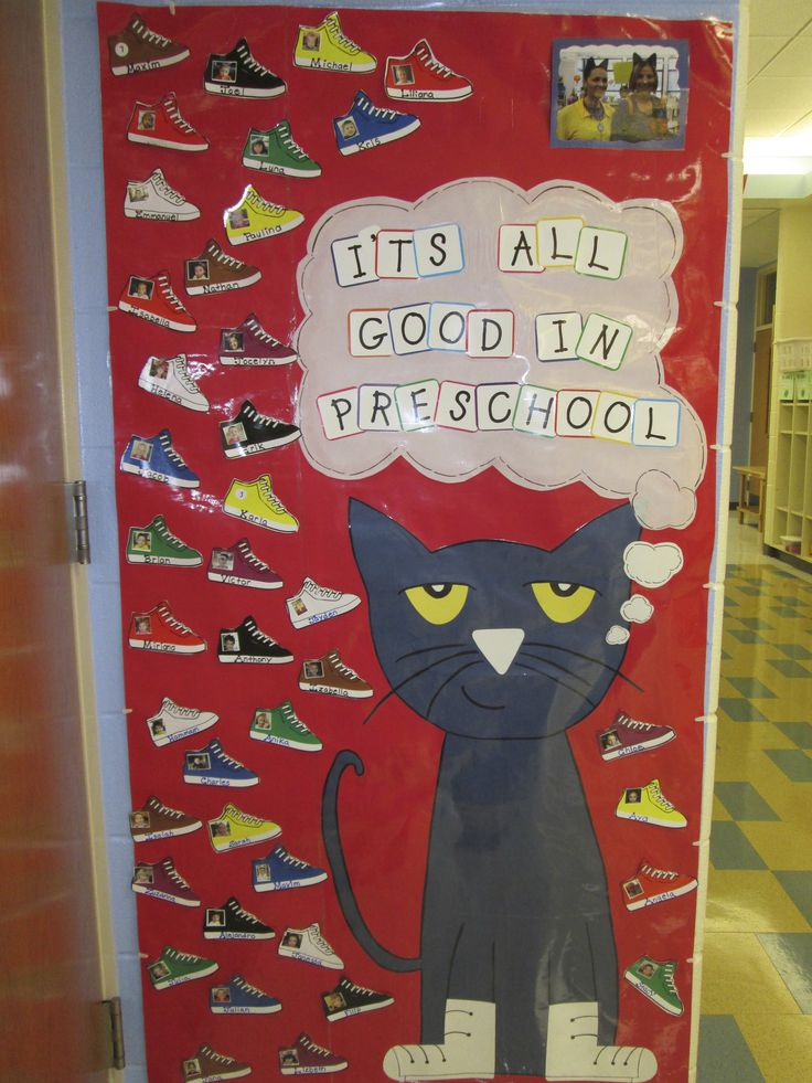 Pete the Cat---Welcome to Preschool---picture of each student on the shoe.