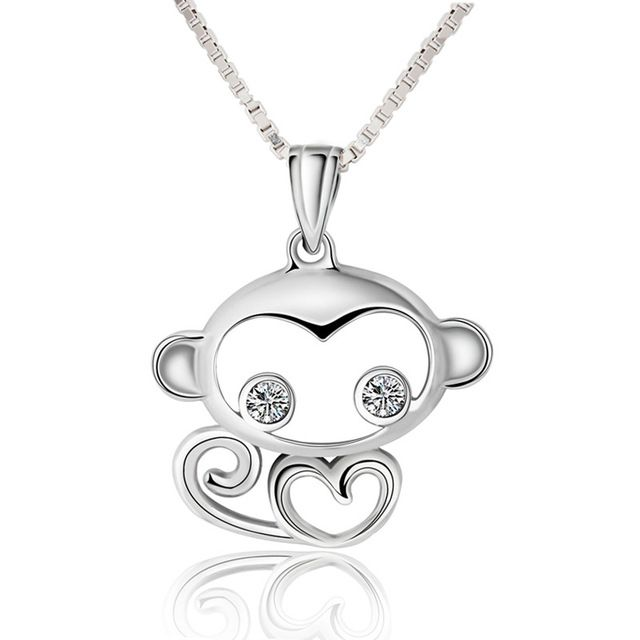 925 Sterling Silver Children Jewelry Cute White Cubic Zirconia Monkey Necklaces & Pendants For Girls Anti-allergic Jewelry box