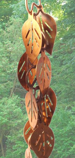 SUPER SAVINGS - UP TO 60% OFF TODAY - 100% Copper Rain Chains, with numerous styles to choose from and will last a lifetime. We always offer great deals as well as fantastic customer service. Rain chains are a very unique product and will add charm and character to any home. Cascading Leaves Links Style.