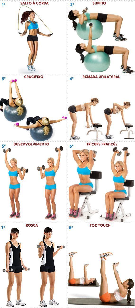 Treino de musculação com halteres para mulheres