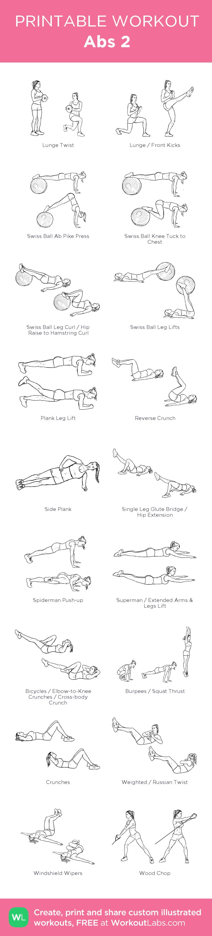 Abs 2:my visual workout created at WorkoutLabs.com • Click through to customize and download as a FREE PDF! #customworkout