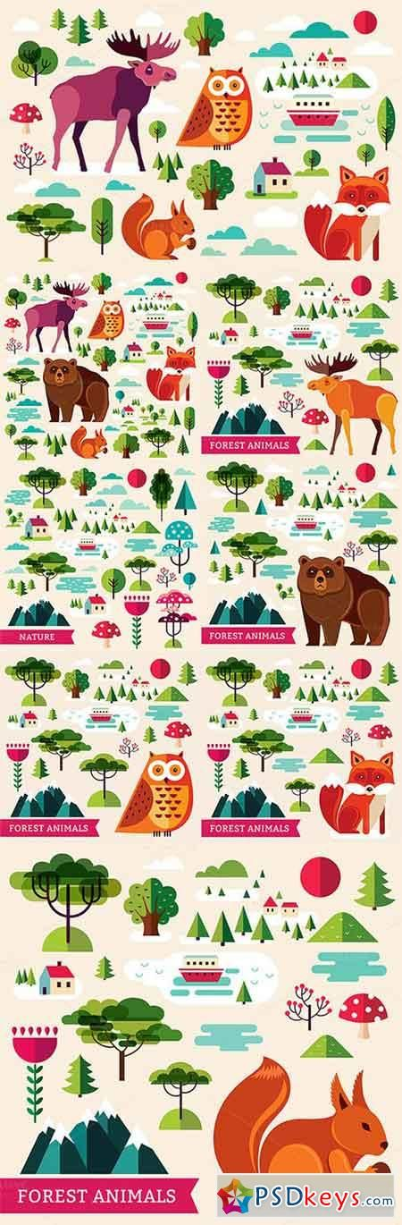 Set with forest animals and nature 535873