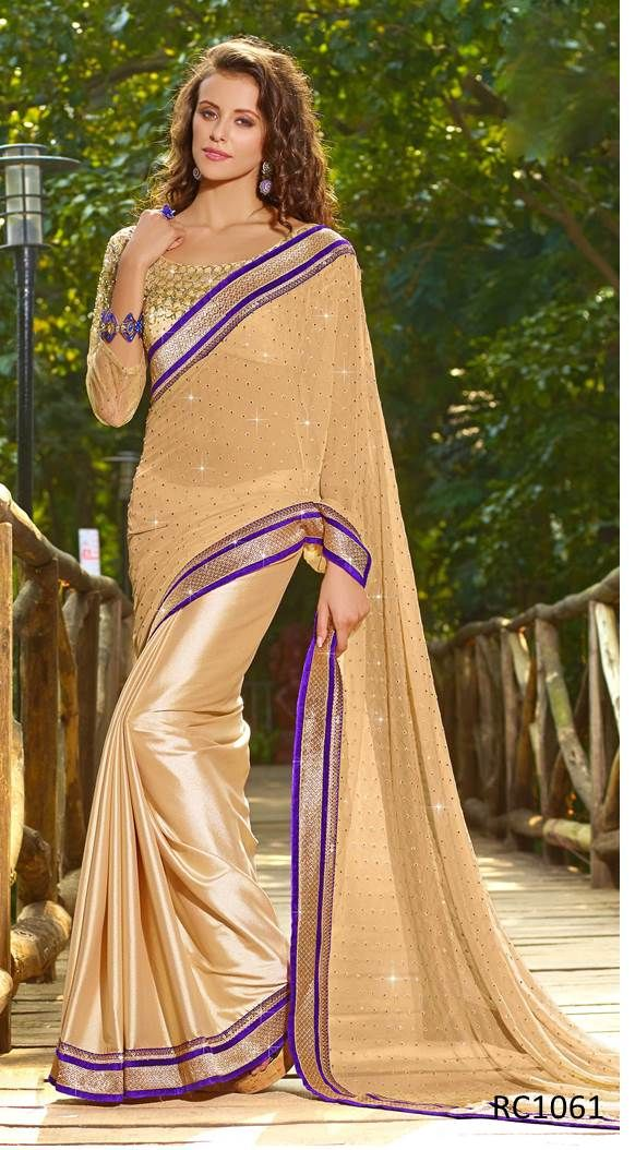 #Sarees Keep your wardrobe updated with latest fashion in Indian Ethnic Wear. Explore the complete range of latest sarees at Ethnic Station.  http://www.ethnicstation.com/sarees/crepe-sarees/cream-zari-work-saree-RC1061