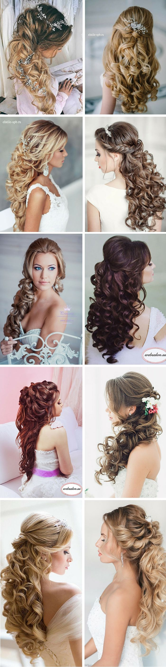 24 Stunning Half Up Half Down Wedding Hairstyles. See more: http://www.weddingforward.com/half-up-half-down-wedding-hairstyles-ideas/ #wedding #hairstyles