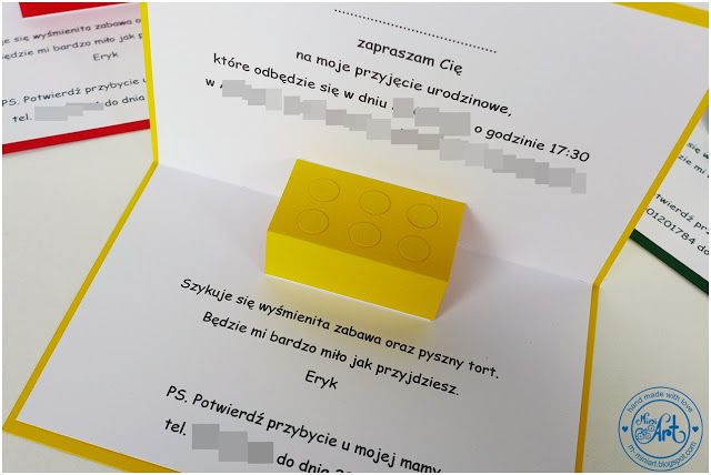 MiniArt - hand made with love: Zaproszenia LEGO / LEGO invitation